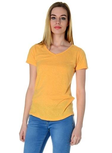 T-Box V Yaka Tişört Sarı